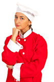 Thinking chef woman Stock Image