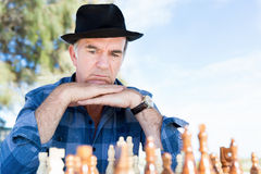 Thinking chess strategy Royalty Free Stock Image