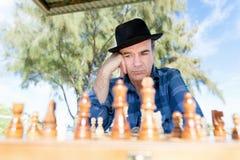 Thinking chess strategy Stock Image