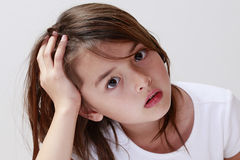 The thinking child looking for help Royalty Free Stock Image
