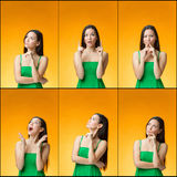 The thinking Chinese girl on yellow background Royalty Free Stock Photo