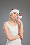 Thinking about christmas gift stock photo