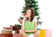 thinking christmas girl isolated on white background Royalty Free Stock Photography
