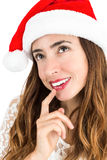Thinking christmas woman Stock Images