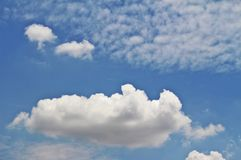 Thinking Clouds. A big cloud looked like thinking flame in blue sky Royalty Free Stock Photo
