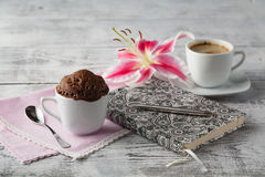 Thinking in coffee time with teacup cupcake Royalty Free Stock Photography
