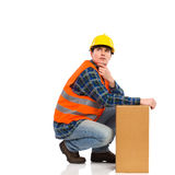 Thinking Construction Worker. Stock Photography