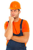 Thinking constructor worker Royalty Free Stock Photography