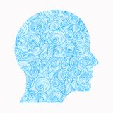 Thinking. The contour of the human head, inside of which there is a pattern of interlocking waves, symbolizing the vector illustration