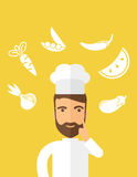 Thinking cook. Vector Illustration