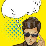 Thinking cool businessman in sunglasses was up to something vector illustration