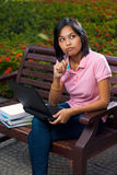 Thinking Cute College Student Bench Laptop Stock Image