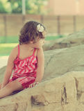 Thinking cute kid girl looking on Royalty Free Stock Photography