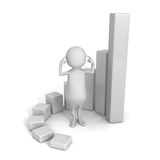 Thinking 3d Man with Growing Bar Chart Diagram. Business Success Royalty Free Stock Photography