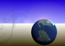 Thinking of earth 2. Wire-frame  face and blue earth Royalty Free Stock Image