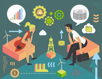 Thinking in energy and money. Man and woman thinking in money and renewable and fossil energy, concept with infographics elements and grunge texture Royalty Free Stock Image