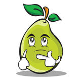 Thinking face pear character cartoon. Vector illustration Stock Images