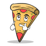 Thinking face pizza character cartoon. Vector illustration Royalty Free Stock Images