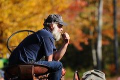 Thinking farmer in autumn Stock Photo