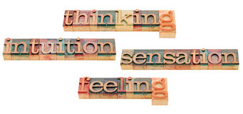 Thinking, feeling, intuition and sensation Royalty Free Stock Photos
