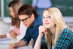 Thinking Female Student Sitting With Classmates Stock Photography