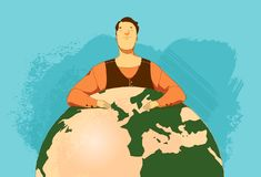 Thinking about the future of the world vector illustration