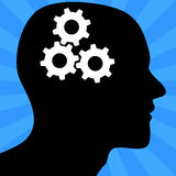 Thinking Gears. An illustration of a man with thinking. Background placed on separate layer Royalty Free Stock Photo