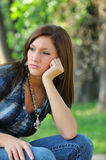 Thinking girl stock image