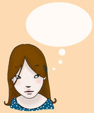 Thinking girl. A thinking girl, with an empty balloon. Digital colors Stock Photography
