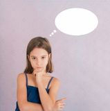 Thinking girl / speech bubble Royalty Free Stock Images