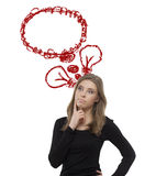 Thinking girl. With two red bulb and cloud Stock Photography