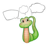 A thinking green worm Stock Photography