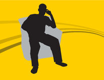 Thinking guy. A rasterized vector image of a guy sitting in a chair Royalty Free Stock Photos
