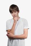 Thinking guy. Isolated on white Stock Photography