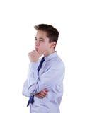 Thinking guy. Isolated on white. Royalty Free Stock Photo