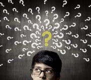 Thinking Half Head Of Genius Little Boy Wearing Glasses Stock Photos