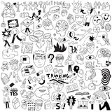 Thinking ,psychology ,sick people -big doodle set ,background. Thinking hand drawn vector icons, design elements royalty free illustration