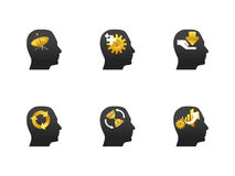 Thinking head icon set Royalty Free Stock Images