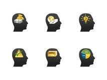 Thinking head icon set. I have created vector icon set using human head as base stock illustration