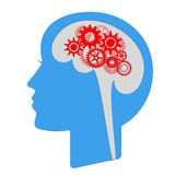 Thinking head. Illustration of a head shape with gears royalty free illustration