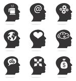 Human head silhouettes with ideas. Vector thinking head silhouettes with idea symbols Stock Images