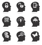 Thinking head silhouette icons Stock Photography