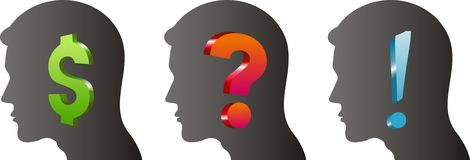 Thinking Heads. Vector image of a men thinking Stock Photo