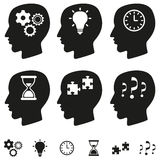 Thinking heads vector set. Thinking heads vector illustration set royalty free illustration