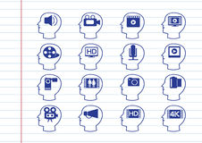 Thinking Heads and Video Movie Multimedia Icons Royalty Free Stock Photos
