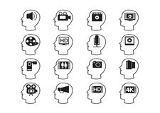 Thinking Heads and Video Movie Multimedia Icons Stock Photos