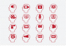 Thinking Heads and Video Movie Multimedia Icons Royalty Free Stock Image