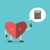 Thinking heart with calculator Royalty Free Stock Photography