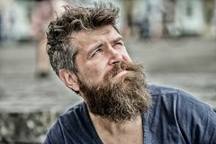 Thinking and hesitating. Bearded man concentrated face. Thoughtful mood concept. Making important choices. Man with. Beard and mustache thoughtful troubled royalty free stock photography