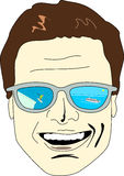 Thinking of Holidays. A happy man's face is portrayed with sunglasses which lens shows a ski station and a cruise ship, touristic options for travelers Royalty Free Stock Photo